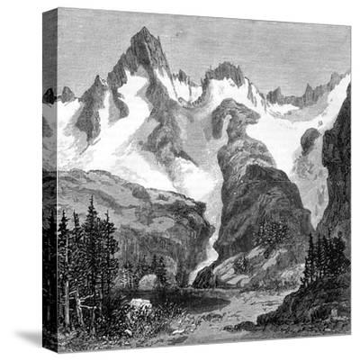 Rush Creek Glacier, on the Eastern Slopes of the Sierra Nevada, California, USA, 1875--Stretched Canvas Print