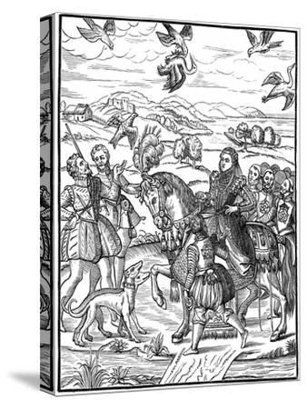 Queen Elizabeth I and Her Attendants Out Hawking, 1575--Stretched Canvas Print