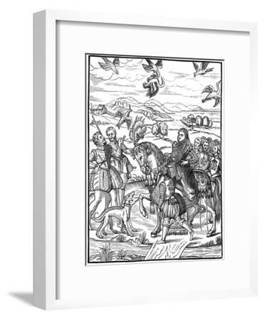 Queen Elizabeth I and Her Attendants Out Hawking, 1575--Framed Giclee Print