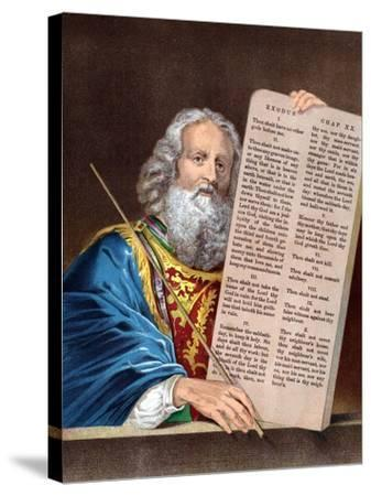 Moses with the Ten Commandments, Mid 19th Century--Stretched Canvas Print