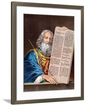 Moses with the Ten Commandments, Mid 19th Century--Framed Giclee Print