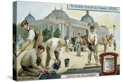 Laying Bitumen Road Surface in a Paris Street, C1900--Stretched Canvas Print