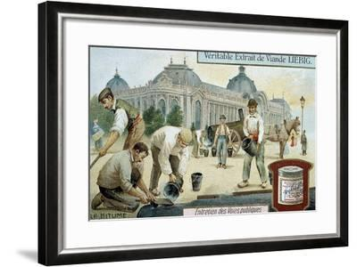 Laying Bitumen Road Surface in a Paris Street, C1900--Framed Giclee Print