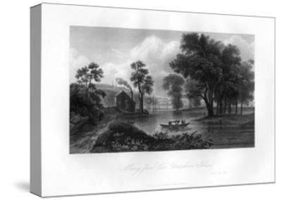 Albany from Van-Unsselaens Island, New York State, 1855--Stretched Canvas Print