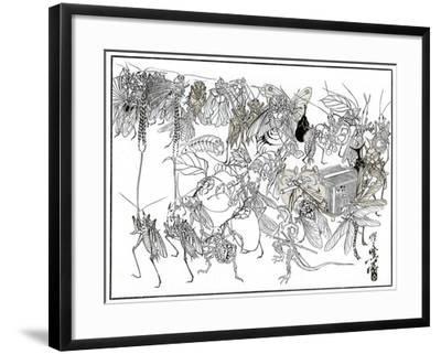 The Insect Daimio Cortege, 1878-Kiosai Kiosai-Framed Giclee Print