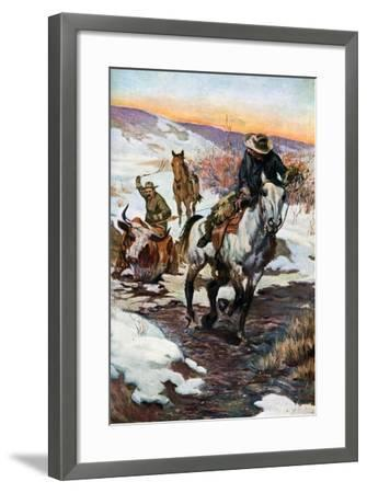 Winter Work for the Cowboys, 1906 (1908-190)--Framed Giclee Print
