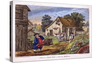 View of a Farmyard in Hendon, in the London Borough of Barnet, C1795--Stretched Canvas Print