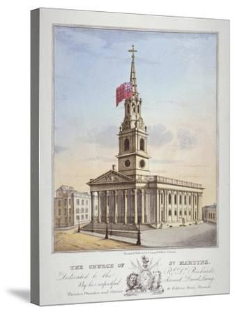 Church of St Martin-In-The-Fields, Westminster, London, C1825-David Laing-Stretched Canvas Print