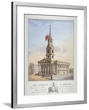 Church of St Martin-In-The-Fields, Westminster, London, C1825-David Laing-Framed Giclee Print