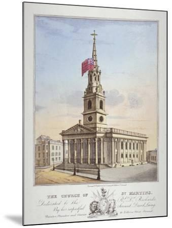 Church of St Martin-In-The-Fields, Westminster, London, C1825-David Laing-Mounted Giclee Print