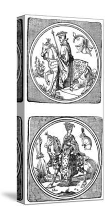 Ancient Playing Cards: King and Queen--Stretched Canvas Print