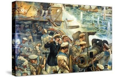Naval Battle Between Russian and Japanese Fleets, Russo-Japanese War, 1904-5--Stretched Canvas Print