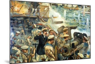 Naval Battle Between Russian and Japanese Fleets, Russo-Japanese War, 1904-5--Mounted Giclee Print