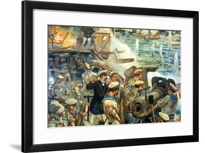 Naval Battle Between Russian and Japanese Fleets, Russo-Japanese War, 1904-5--Framed Giclee Print
