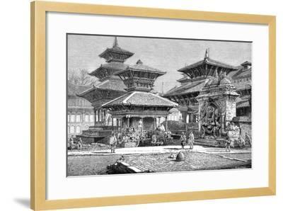 Temples Facing the Royal Place, Katmandu, Nepal, 1895--Framed Giclee Print
