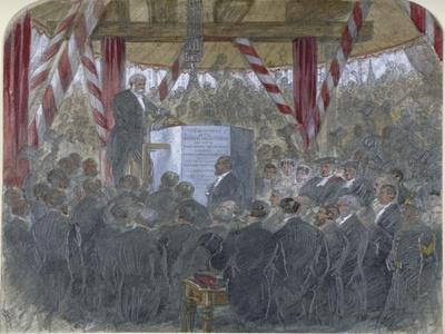 Laying of the Chief Stone of Holborn Viaduct, City of London, 3 June 1867--Framed Giclee Print