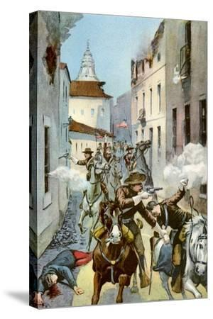 Street Fight in Santiago, Cuba, Spanish-American War, 1898--Stretched Canvas Print