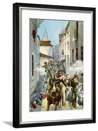 Street Fight in Santiago, Cuba, Spanish-American War, 1898--Framed Giclee Print