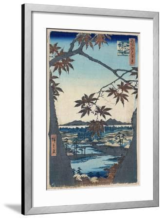Maple Leaves and the Tekona Shrine and Bridge at Mama, 1856-1858-Utagawa Hiroshige-Framed Giclee Print