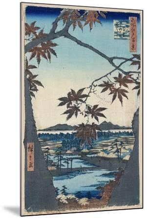 Maple Leaves and the Tekona Shrine and Bridge at Mama, 1856-1858-Utagawa Hiroshige-Mounted Giclee Print