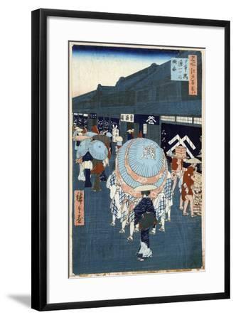 View of the First Street on Nihonbashidori (One Hundred Famous Views of Ed), 1856-1858-Utagawa Hiroshige-Framed Giclee Print