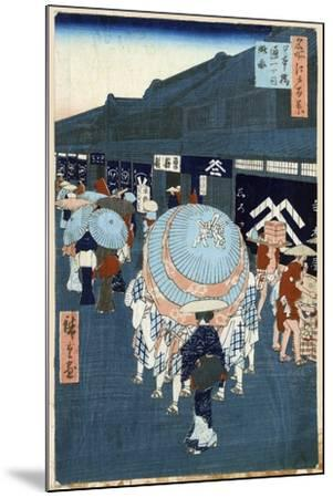 View of the First Street on Nihonbashidori (One Hundred Famous Views of Ed), 1856-1858-Utagawa Hiroshige-Mounted Giclee Print
