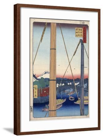 The Harbor Shrine and Inari Bridge at Teppozu, (One Hundred Famous Views of Ed), 1856-1858-Utagawa Hiroshige-Framed Giclee Print