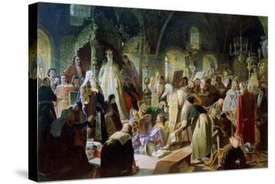 Old Believer Priest Nikita Pustosviat. Dispute on the Confession of Faith, 1880-1881-Vasili Grigoryevich Perov-Stretched Canvas Print