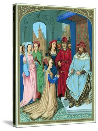 King Solomon Welcoming the Queen of Sheba-Hans Memling-Stretched Canvas Print
