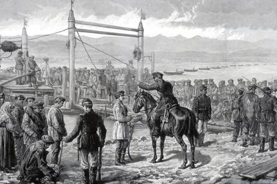 Russian Convicts under Military Escort Waiting to Be Ferried across the River Yenisei, 1882--Framed Giclee Print