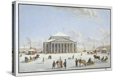 View of the Bolshoi Theatre in St Petersburg, Early 19th Century-Gabriel Ludwig Lory the Elder-Stretched Canvas Print