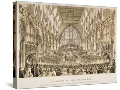 Interior of the Guildhall, City of London, 1855--Stretched Canvas Print