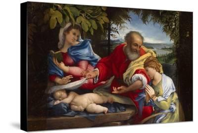 Rest on the Flight into Egypt with Saint Justina, 1529-Lorenzo Lotto-Stretched Canvas Print