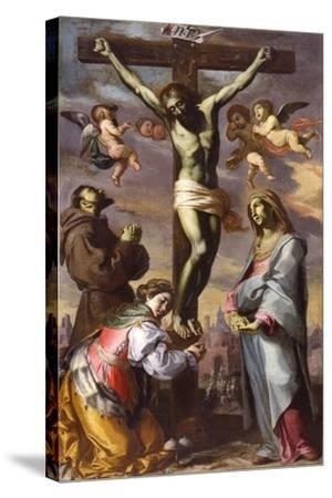 The Crucifixion with the Virgin and Saints Francis and Agatha, Mid of 17th C-Bernardino Mei-Stretched Canvas Print