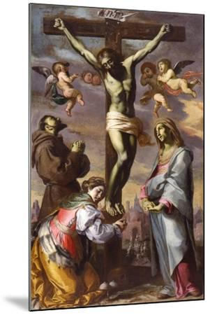 The Crucifixion with the Virgin and Saints Francis and Agatha, Mid of 17th C-Bernardino Mei-Mounted Giclee Print