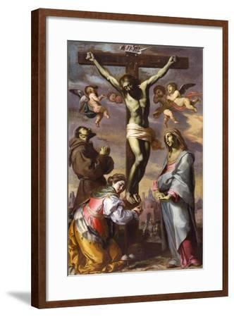 The Crucifixion with the Virgin and Saints Francis and Agatha, Mid of 17th C-Bernardino Mei-Framed Giclee Print