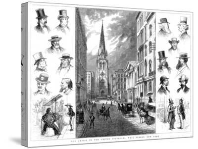 American Businessmen and Wall Street, New York, USA, 1877--Stretched Canvas Print