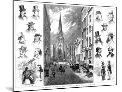 American Businessmen and Wall Street, New York, USA, 1877--Mounted Giclee Print