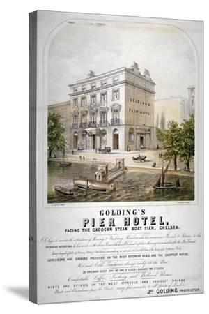 Advertisement for Goldings Pier Hotel, Chelsea, London, C1860--Stretched Canvas Print