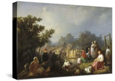 The Blessing of Waters in a Country Village, 1858-Ivan Petrovich Trutnew-Stretched Canvas Print