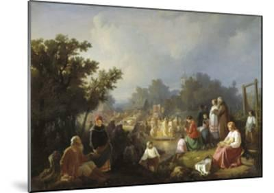 The Blessing of Waters in a Country Village, 1858-Ivan Petrovich Trutnew-Mounted Giclee Print