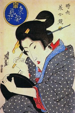 Contest of Beauties: a Geisha from the Eastern Capital, C1830-Keisai Eisen-Framed Giclee Print