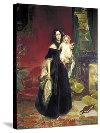 Maria Arkadyevna (Stolypin) Beck (1819-188) with Her Daughter, 1840-Karl Pavlovich Briullov-Stretched Canvas Print