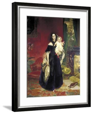 Maria Arkadyevna (Stolypin) Beck (1819-188) with Her Daughter, 1840-Karl Pavlovich Briullov-Framed Giclee Print