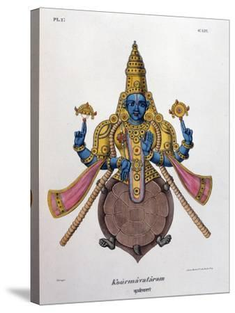 Vishnu, One of the Gods of the Hindu Trinity (Trimurt), 1828--Stretched Canvas Print
