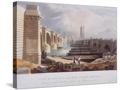 London Bridge (Old and New), London, 1832-William Knight-Stretched Canvas Print