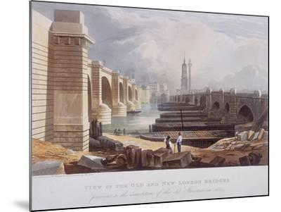 London Bridge (Old and New), London, 1832-William Knight-Mounted Giclee Print