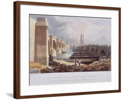 London Bridge (Old and New), London, 1832-William Knight-Framed Giclee Print