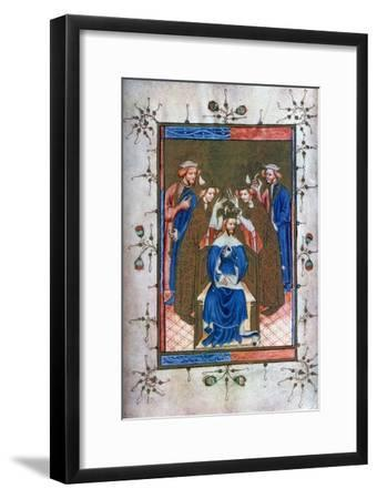 Crowning of a King, from the Liber Regalis, Westminster Abbey, 14th Century--Framed Giclee Print