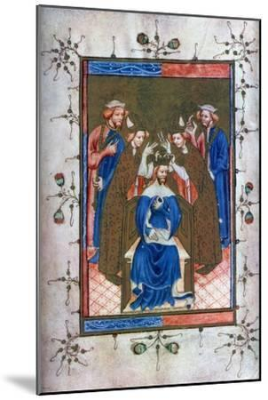 Crowning of a King, from the Liber Regalis, Westminster Abbey, 14th Century--Mounted Giclee Print